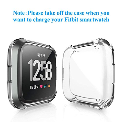 GerTong Soft Silicone TPU Full Cover Case For Fitbit Versa Ultra-thin Soft Plating TPU Protection For Fitbit Versa Protective Shell Frame for Fitbit Versa Smartwatch Clear by GerTong (Image #2)