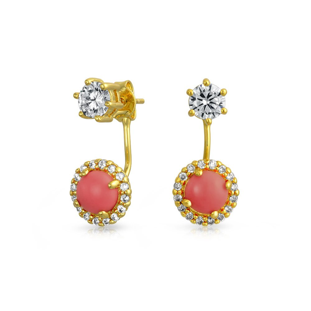 Bling Jewelry Pink Clear CZ Gold Plated Brass Ear Jacket Earrings HSH-HSE09372-C