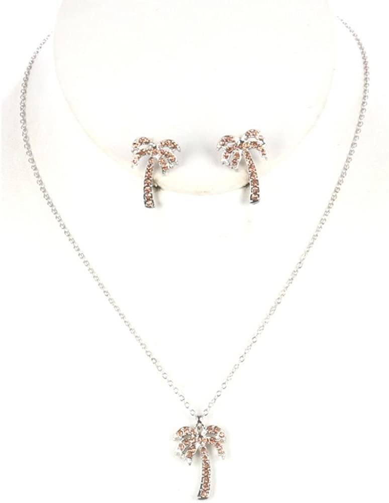 FB Jewels Solid Metal Palm Tree Necklace And Earring Set Charm With Pave Crystal Stone