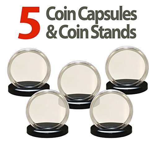 5 Capsules & 5 Stands for POKER & CASINO CHIPS Direct Fit Airtight 40.6mm Holder
