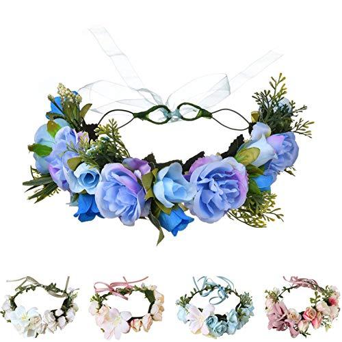 Handmade Adjustable Flower Wreath Headband Halo Floral Crown Garland Headpiece Wedding Festival Party (H-(Blue)) ()