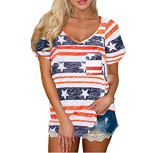 Womens Patriotic Stripes Star American Flag Cold Shoulder Button Down Blouse Top Orange