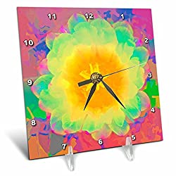 3dRose LLC Decorative Colorful Garden Plant Southwest Desert Cactus Red Green Gold Flower Abstract Pastel 6 by 6-Inch Desk Clock
