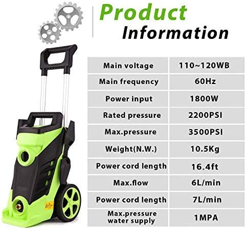 Homdox Electric High Pressure Washer 3500PSI 2.6GPM Power Pressure Washer Machine 1800W with Power Hose Gun Turbo Wand, 4 Quick-Connect Spray Tips and Rolling Wheel