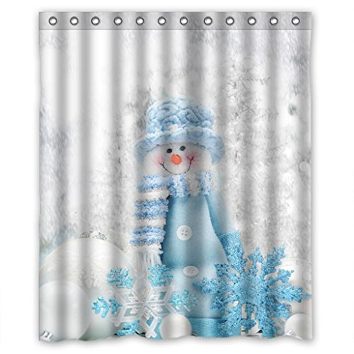 Cute Snowman Snowflake White Snow High Quality Fabric Bathroom Shower Curtain 60 x 72 Inches