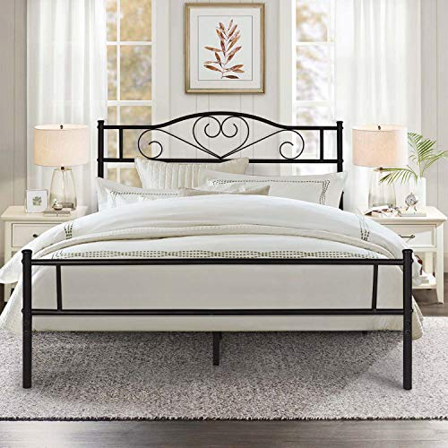VECELO Classic Bed Frame Metal Platform Mattress Foundation Decorative Headboard Footboard with Heavy Duty Support, Queen Size, Black