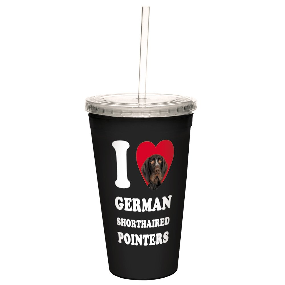 Brown Close-Up 16-Ounce Tree-Free Greetings CC35058 I Heart German Shorthaired Pointers Artful Traveler Double-Walled Cool Cup with Reusable Straw