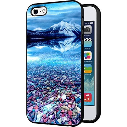 (iPhone 5C Case, Customized Black Soft Rubber iPhone/Apple 5C Case Fuji Mountain with colorful stone)