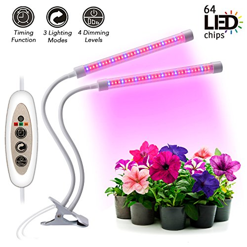 Indoor Greenhouse Kits - [2018 Latest Upgrade] Plant Grow Light Kit 18W Dual Head 64 LED Chips Timing Lamp with Red/Blue Spectrum Bulbs for Indoor and Greenhouse Plants, Flexible Double Tube 3/6/12H Timer, 4 Dimmable levels