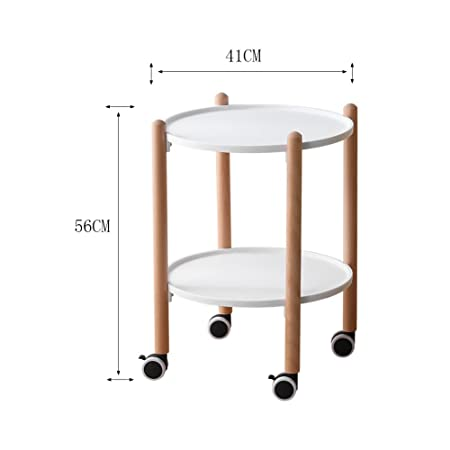 Amazon.com: Perfect Furniture CSQ Move The Side Table, Coffee Table Trolley Circular Mobile Dining Car Lazy Table Stylish White Black |414156CM Tea Table ...