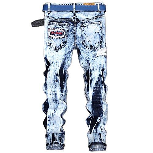 Strappati Chiaro Patchato Jeans Taglio Fit Pantaloni Straigh Distrutto Skinny Uomo Stile Azzurro q6w7xT