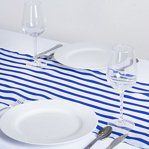 BalsaCircle 12 x 108-Inch Royal Blue Satin Stripes Table Top Runner - Wedding Party Event Reception Occasions Linens Decorations