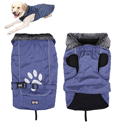Please Adopt Me Costume (QBLEEV Pet Dog Puppy Coat Jacket for Cold Weather Furry Collar Fleece Plush Polyester Sherpa Nylon Clothes Costumes Cozy Waterproof Windproof Winter Warm Adjustable Reflective Paw Print (L))