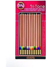 Koh-I-NOOR kleurrijke potloodset, 12 verschillende kleuren in tin en blister-karton (fa33tin12bc)