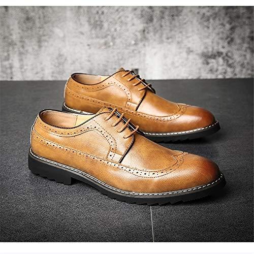 Marrón Jincosua Punta Ala Para 5 5 Con Amarillo Piel Hombre De Uk Patente Pulida Zapatos Suela Suave q1Uw1R