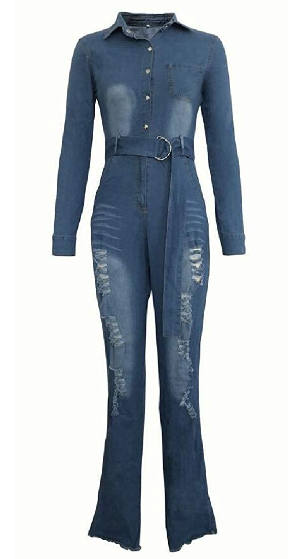 Jotebriyo Womens Fashion Ripped Holes Jeans Denim Belted Long Sleeve Rompers Jumpsuit