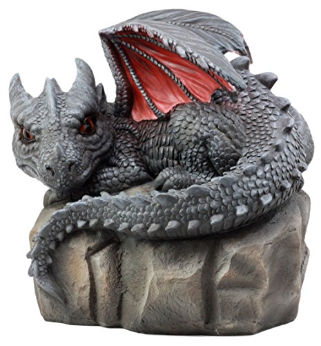"Ebros Large Spyro Resting Baby Dragon Hatchling On Rock Garden Statue 10"" L Faux Stone Resin Finish Legends and Fantasy Home and Garden Accent Decor Sculpture (Dragon Hatchling On Rock)"