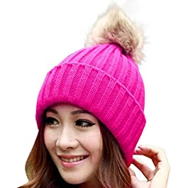 Clode® Womens Beanie, Ladies Girls Christmas Winter Warm Chunky Braid Knitted Crochet Beanie Hats with Pom Pom SKI Snowboard Bobble Hats