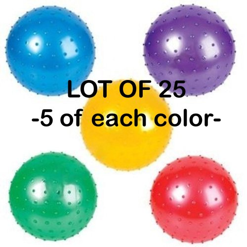 (LOT OF 25) Knobby Ball Inflatables Crane Party Favors Autism Sensory Baby Massage ()