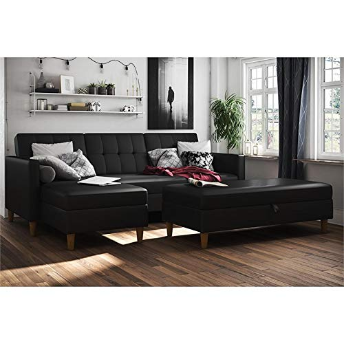 DHP Hartford Storage Sectional Futon with Interchangeable Chaise and Storage Ottoman, Space-saving Design, Opens to Queen Bed, Wooden Legs, Black Faux Leather ()