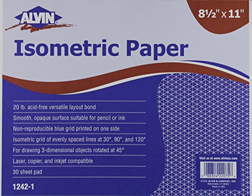 Alvin Isometric 30-Sheet Paper Pad, 8.5