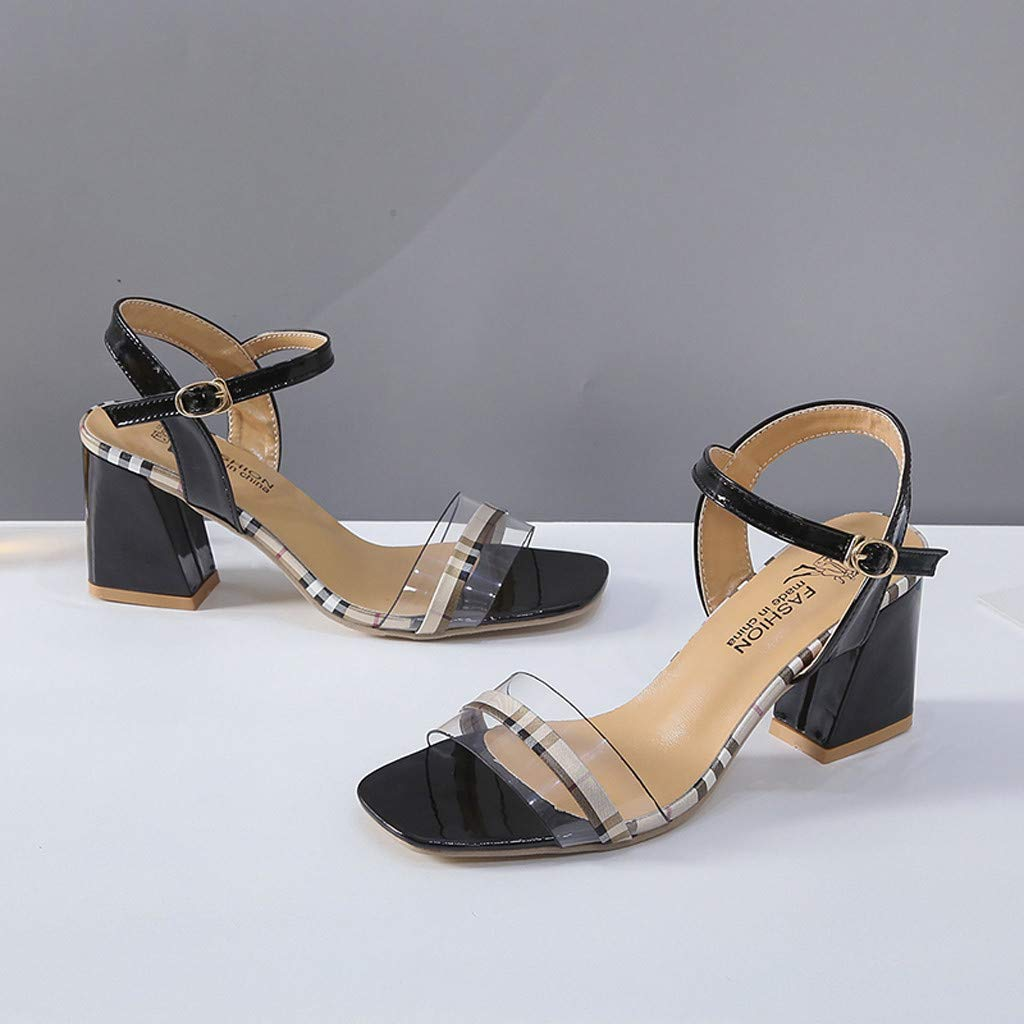 Orangeskycn Women Sandals Summer New Fish Mouth Thick with Buckle Strap Shoes High Heel Work Casual Beach Sandals Black by Orangeskycn Women Sandals (Image #4)