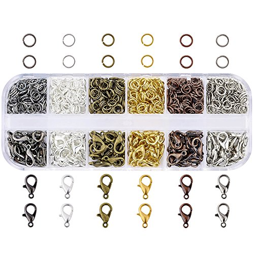 Pandahall 1Box Jewelry Findings Kits Alloy Lobster Claw Clasps and Iron Jump Rings for Jewelry Making Mixed Color with a container