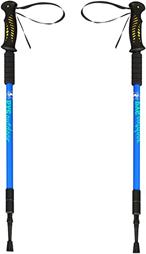 pys Trekking Telescopic Walking Poles Hiking Poles - Adjustable Aluminium Lightweight Section Trekking Alpenstock, Ultralight Comfortable with Shock-Absorbent, Quick Lock, 1 Pair