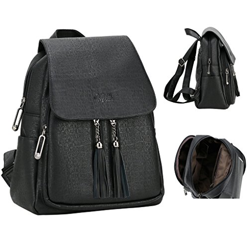 Black Backpack Purse, Leather PU Backpack Purse for Women Teen Girls, School, Travel, Lightweight, Waterproof