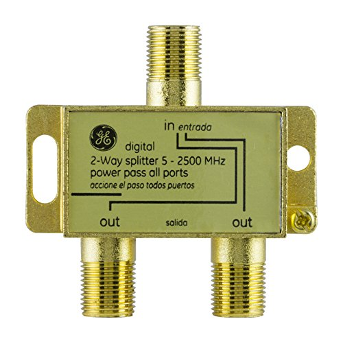 GE Pro Digital 2-Way Coaxial Splitter, Works with HDTV, Amplifiers, Amplified Antennas, RG6 Coax Compatible, 5-2500 Mhz Range, Corrosion Resistant, Gold Plated Connectors, 33526
