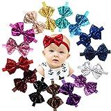15pcs Baby Girl Headbands Sparkly Glitter Sequins