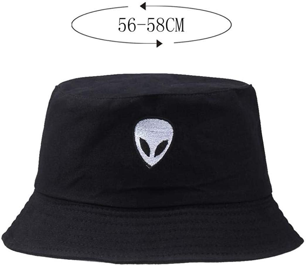Unisex Alien Embroidered Bucket Hat Fisherman Sunshade Cap