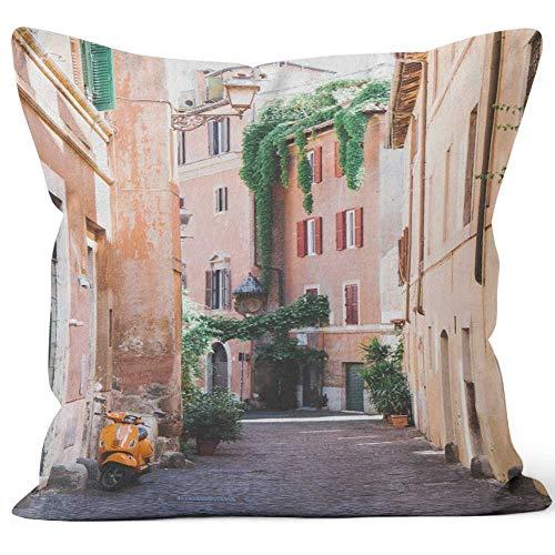 (Nine City Trastevere Sack Burlap Pillow,HD Printing Square Pillow case)