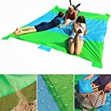 Sand Proof Beach Blanket Oversized Waterproof Light & Compact, Perfect Picnic Blanket, Valuables Pocket with Zipper, 4 Stakes, 4 Anchor Loops, Sand Pockets & Bag – XXL 9'x7' Beach, Camp, Park, Lake