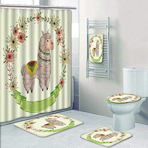 Philip-home 5 Piece Banded Shower Curtain Set Lama Animal with Floral Wreath in Watercolor Style Concept Design for greetingcard p y Vintage Decorate The Bath by Philip-home