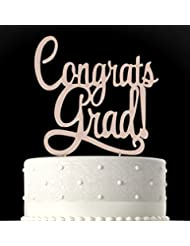 Rubies & Ribbons Congrats Grad Gold Metal Graduation Cake Topper Party Decoration with Gift Box