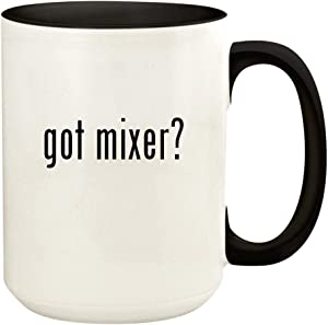 got mixer? - 15oz Ceramic Colored Handle and Inside Coffee Mug Cup, Black