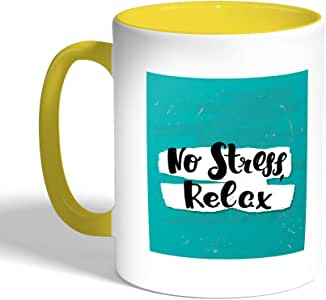 Printed Coffee Mug, Yellow Color, no stress relax