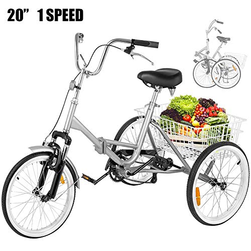Happybuy 20 Inch Adult Tricycle Folding 3 Wheel Bike Adult Tricycle Trike Cruise Bike Large Size Basket for Recreation Shopping Exercise Men Women Bike (Silver 1 Speed Foldable)