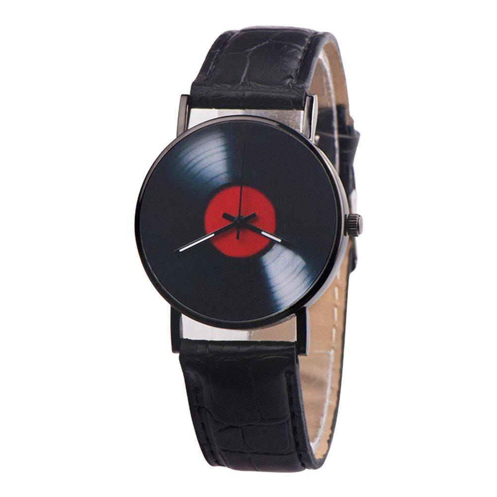 Retro Vinyl Record Dial Faux Leather Men Women Analog Quartz Wrist Watch Gift - White