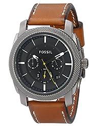 Fossil Men's Machine FS4951 Gunmetal Leather Quartz Watch
