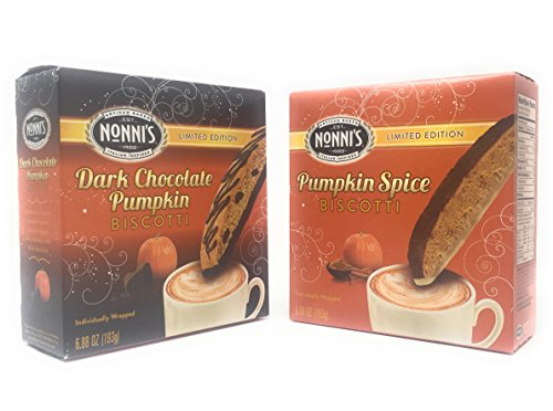 Nonnis Biscotti-Dark Chocolate Pumpkin and Pumpkin Spice With Cinnamon Icing-Limited Edition Bundle -- 2 pack