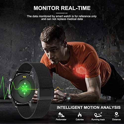 Smart Watch with Call,Health and Fitness Smartwatch with Heart Rate Blood Pressure SpO2 Monitor Sleep Tracker,App Message Reminder,Music Control,Waterproof Smart Watch for Android iOS Phone (Blakc)