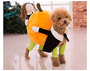 Funny Dog Clothes for Small Dogs, Carrying Pumpkin Halloween Fancy Jumpsuit Puppy Costume, with Cuddly Soft Plush Better to Keep Warm in Winter, for Pet Dogs, Cats.