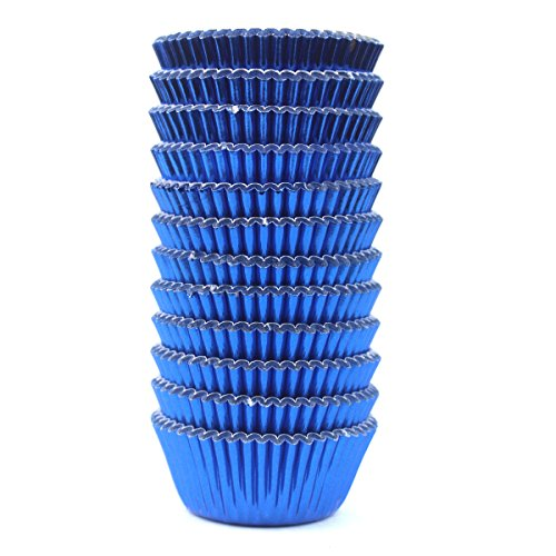 Eoonfirst Mini Foil Metallic Paper Cupcake Cup Liners/Baking Cups 300 Pcs (Navy - Liners Cupcake Mini Blue