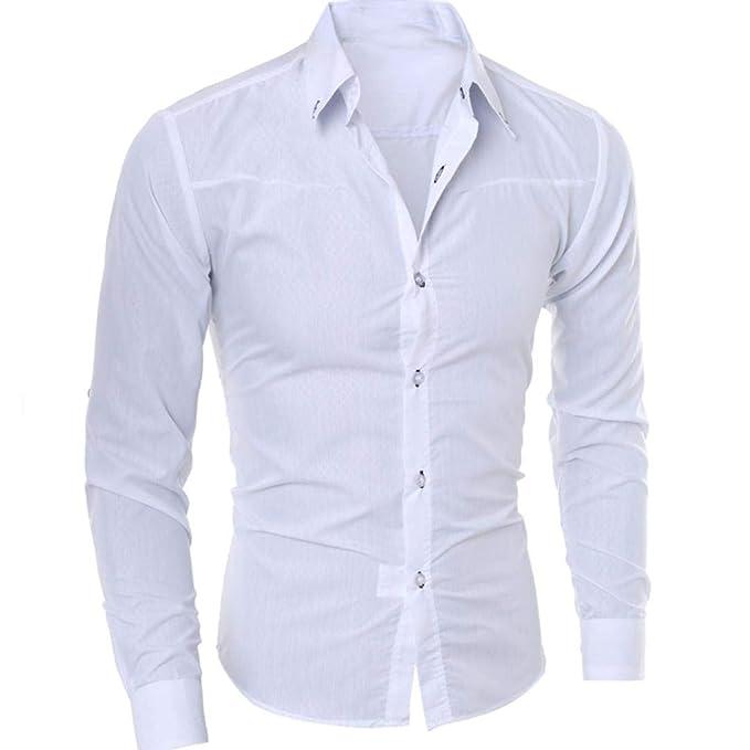 9e4bcebd8b58f8 POLPqeD Uomo Camicia Moda Camicia Stampata Casual Manica Lunga Slim Camicie  Top: Amazon.it: Abbigliamento