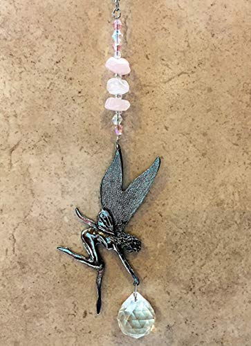 - Rear View Mirror Fairy Rose Quartz Gemstone Crystal Car Charm Sun Catchers, Pewter Fairy Window Sun Catcher,Window Ornament Suncatcher,Feng Shui,Car Charm