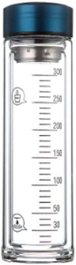 Hemoton Botellas de Agua de Vidrio de 350 Ml Botella de Infusor de Té de Doble Pared Botella de Bebida con Escala Botella de Filtro de Bebida de Jugo de Té Suelto Azul