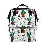 WOZO Summer Cactus Flower Multi-function Diaper Bags Backpack Travel Bag