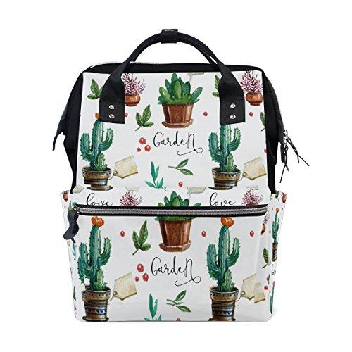 WOZO Summer Cactus Flower Multi-function Diaper Bags Backpack Travel Bag by WOZO